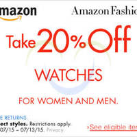 Amazon.com 20% OFF Watches (NO Min Spend) Coupon Code 8 - 14 Jul 2015