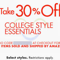 Read more about Amazon.com 30% OFF College Style Essentials (NO Min Spend) Coupon Code 21 - 29 Jul 2015