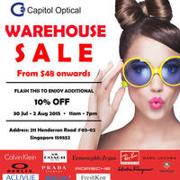 Capitol Optical Warehouse Sale 30 Jul - 2 Aug 2015