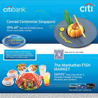 Read more about Conrad Centennial & Manhattan Fish Market Offers For Citibank Cardmembers 26 Jul 2015