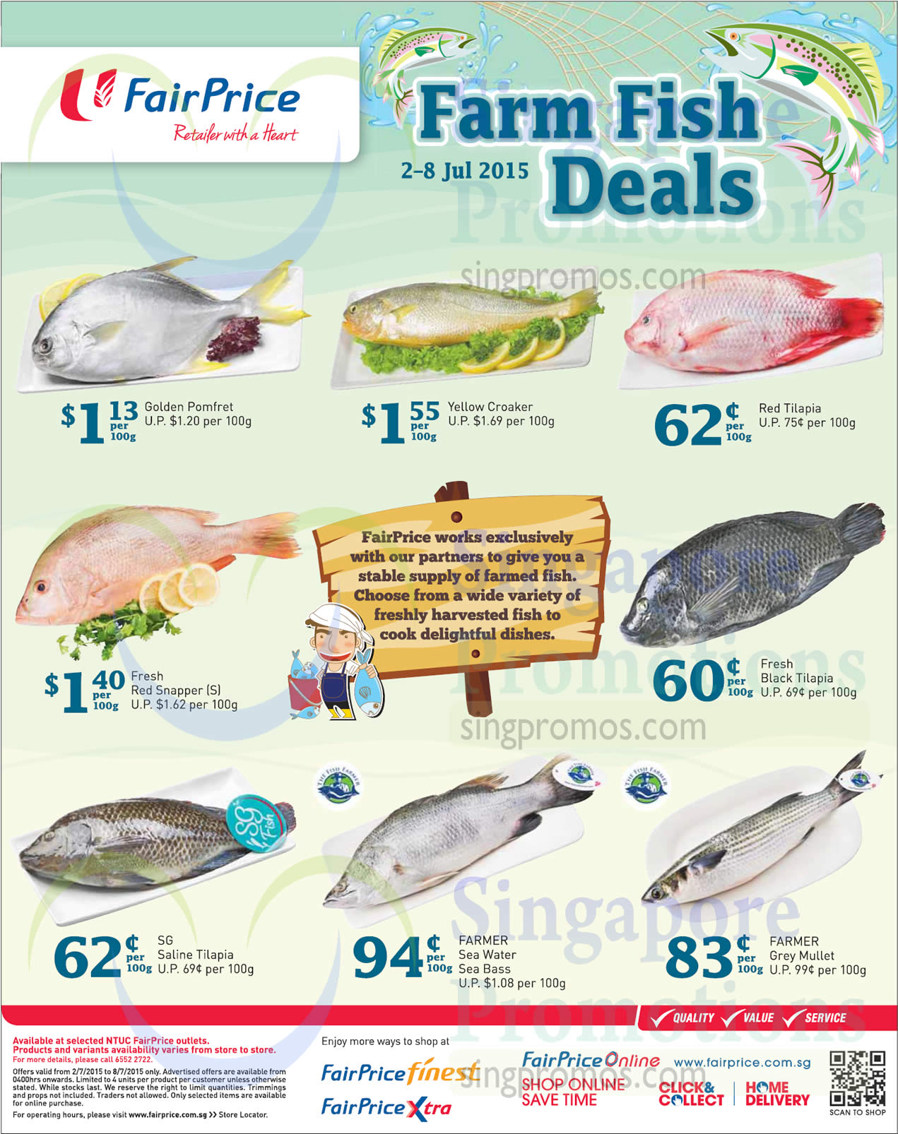 Fish deals pomfret yellow croaker tilapia sea bass for Fishing for deals