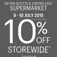 Isetan Supermarket 10% Off @ Westgate & Scotts 8 - 10 Jul 2015