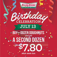 Krispy Kreme $7.80 2nd Dozen 1-Day Promo 13 Jul 2015
