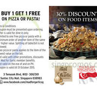Read more about Mad For Garlic 1 for 1 Pizzas & Pastas Coupon 24 Jul - 31 Oct 2015