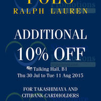Polo Ralph Lauren 10% Off For Citibank Cardmembers @ Takashimaya 30 Jul - 11 Aug 2015