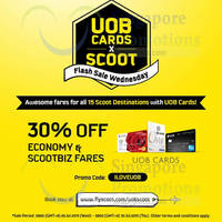 Scoot 30% Off Promo Fares For UOB Cardmembers 29 - 30 Jul 2015