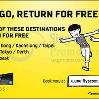 Scoot Pay to Go Return for FREE Promo Fares For UOB Cardmembers 3 - 5 Jul 2015