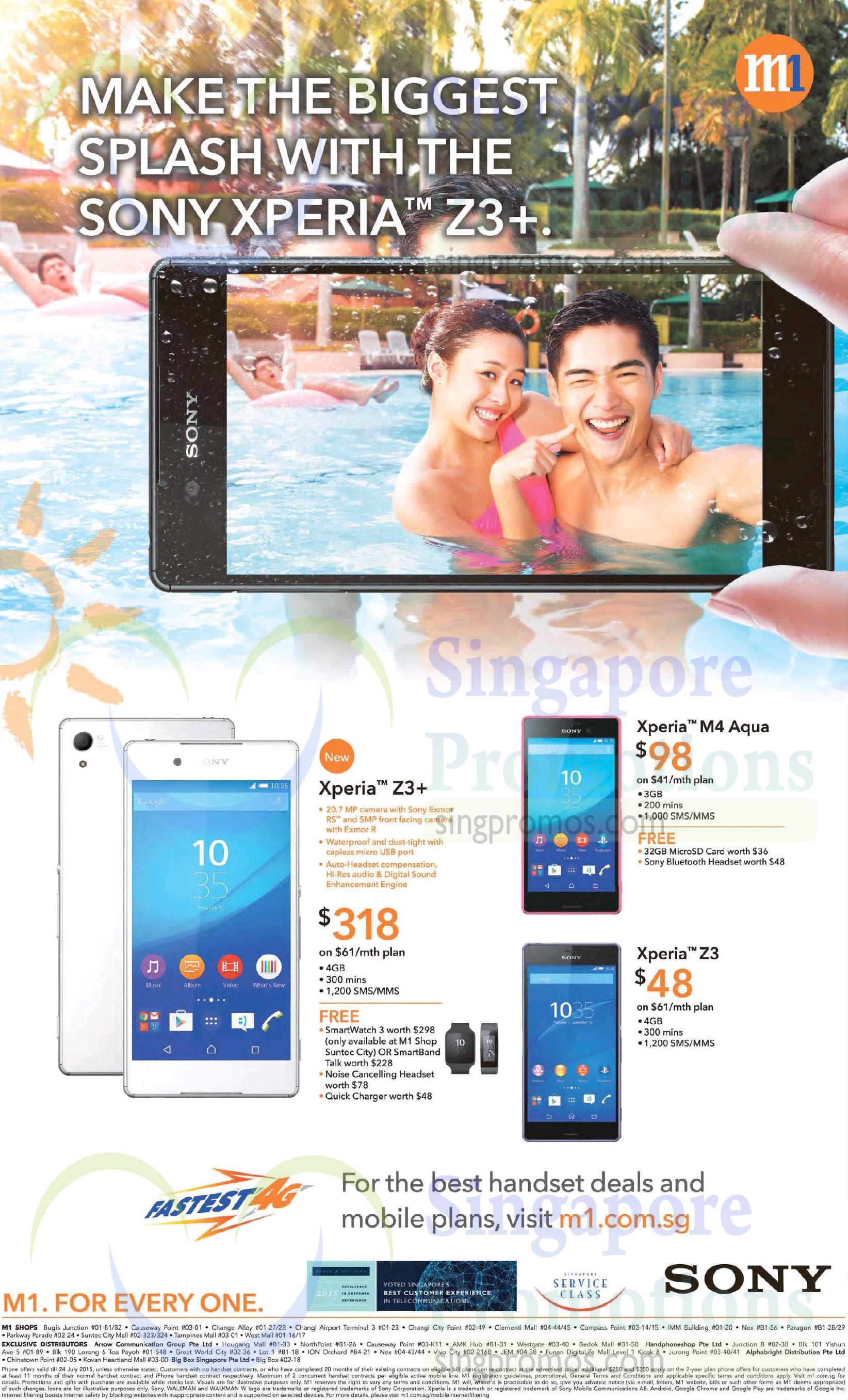 Sony Xperia Z3 Plus, Sony Xperia M4 Aqua, Sony Xperia Z3
