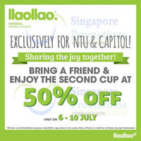 llaollao 50% OFF Second Cup Promo @ Two Outlets 6 - 10 Jul 2015
