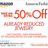 Read more about Amazon.com 50% OFF Jewellery (NO Min Spend) Coupon Code 16 - 20 Aug 2015
