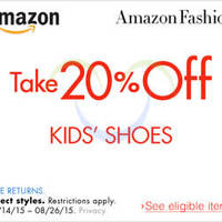 Read more about Amazon.com 20% OFF Kids Shoes (NO Min Spend) Coupon Code 16 - 27 Aug 2015
