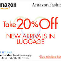 Read more about Amazon.com 20% OFF Luggage New Arrivals (NO Min Spend) Coupon Code 16 - 26 Aug 2015