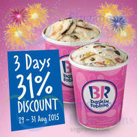 Read more about Baskin-Robbins 31% Off 3-Days Promotion 29 - 31 Aug 2015