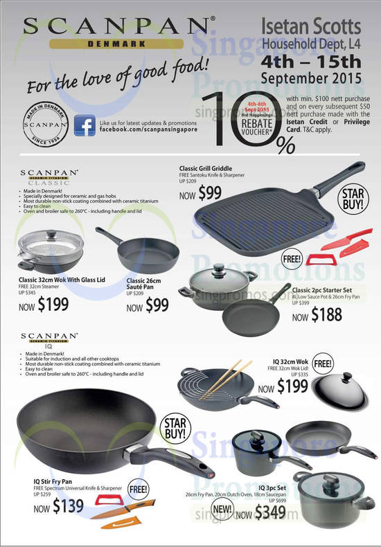 Scanpan Classic Grill Griddle, Scanpan Classic 32cm Wok with Glass Lid, Scanpan Classic 26cm Saute Pan, Scanpan IQ Stir Fry Pan, Scanpan IQ 32cm Wok