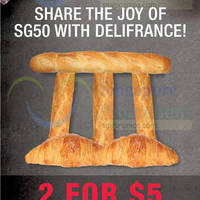 Delifrance $5 for Two Plain Croissants SG50 Promotion 4 Aug - 30 Oct 2015