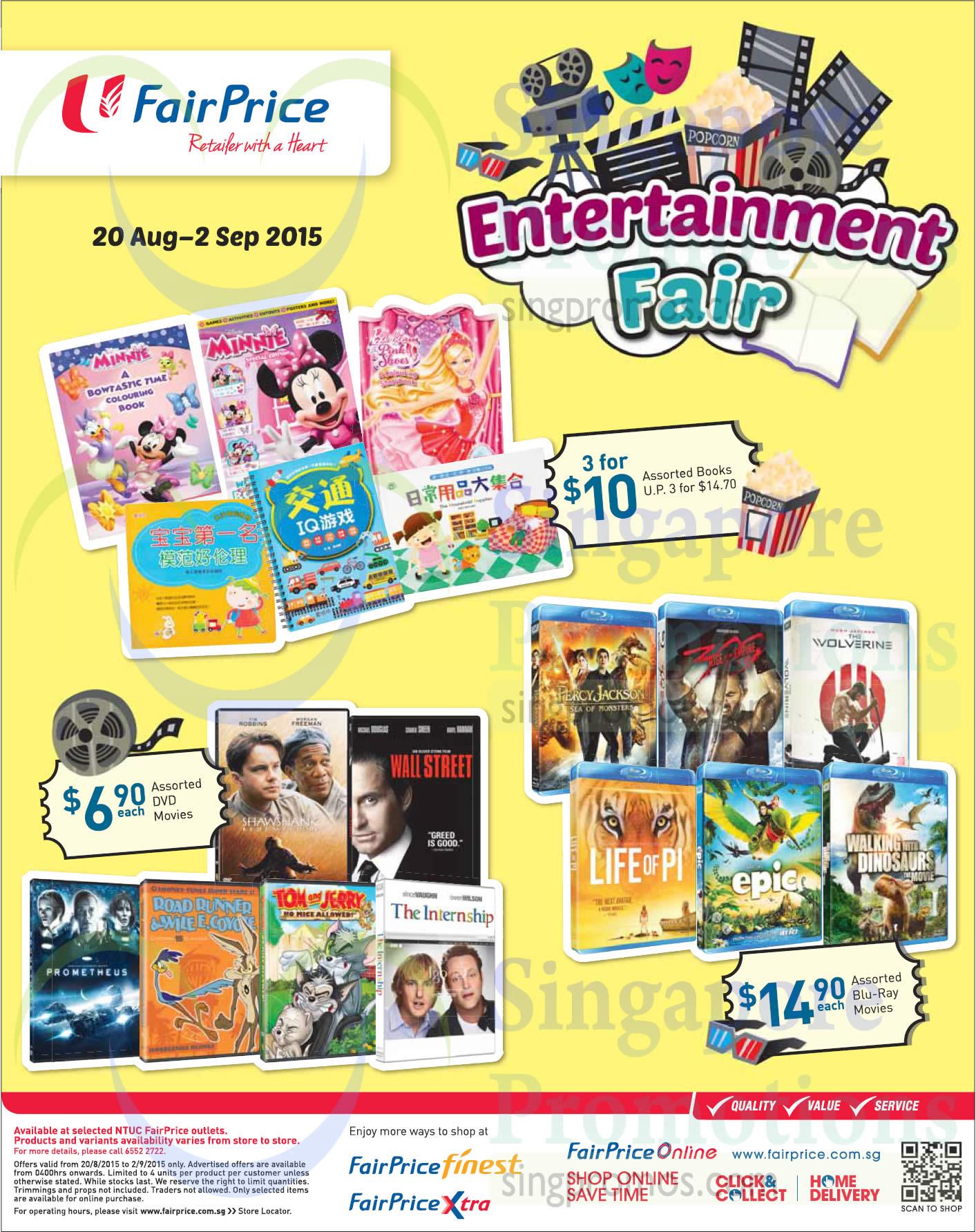 Entertainment Fair Assorted Books, Blu Ray Movies, DVD Movies