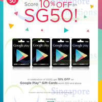 Google Play 10% OFF Gift Cards Promotion 3 - 9 Aug 2015