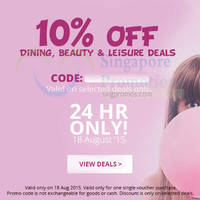 Read more about Groupon 10% OFF Dining, Beauty & Leisure Deals NO Min Spend 1-Day Coupon Code 18 Aug 2015