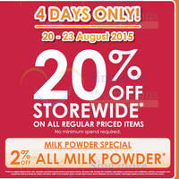 Read more about Guardian 20% OFF Storewide Promotion (NO Min Spend) 20 - 23 Aug 2015