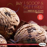 Haagen-Dazs 1-for-1 Ice Cream Scoops 2 - 31 Aug 2015