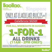 Read more about llaollao 1 for 1 Drinks Weekdays (11am to 2pm) @ Bugis+ 3 - 31 Aug 2015