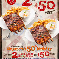 Morganfield's $50 Two Half Slabs Promo 4 Aug 2015