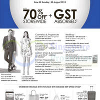 Robinsons Up To 70% Off & GST Absorbed 28 - 30 Aug 2015