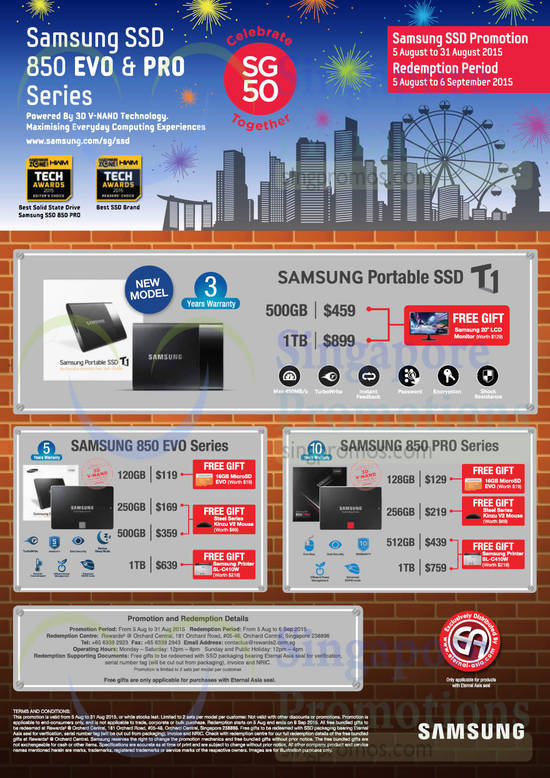 SSD Promotion, Samsung Portable SSD T1, Samsung 850 EVO Series, Samsung 850 PRO Series