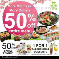 Sakae Sushi 50% Off Entire Menu @ Century Square (Weekdays 3pm to 6pm) 31 Aug 2015
