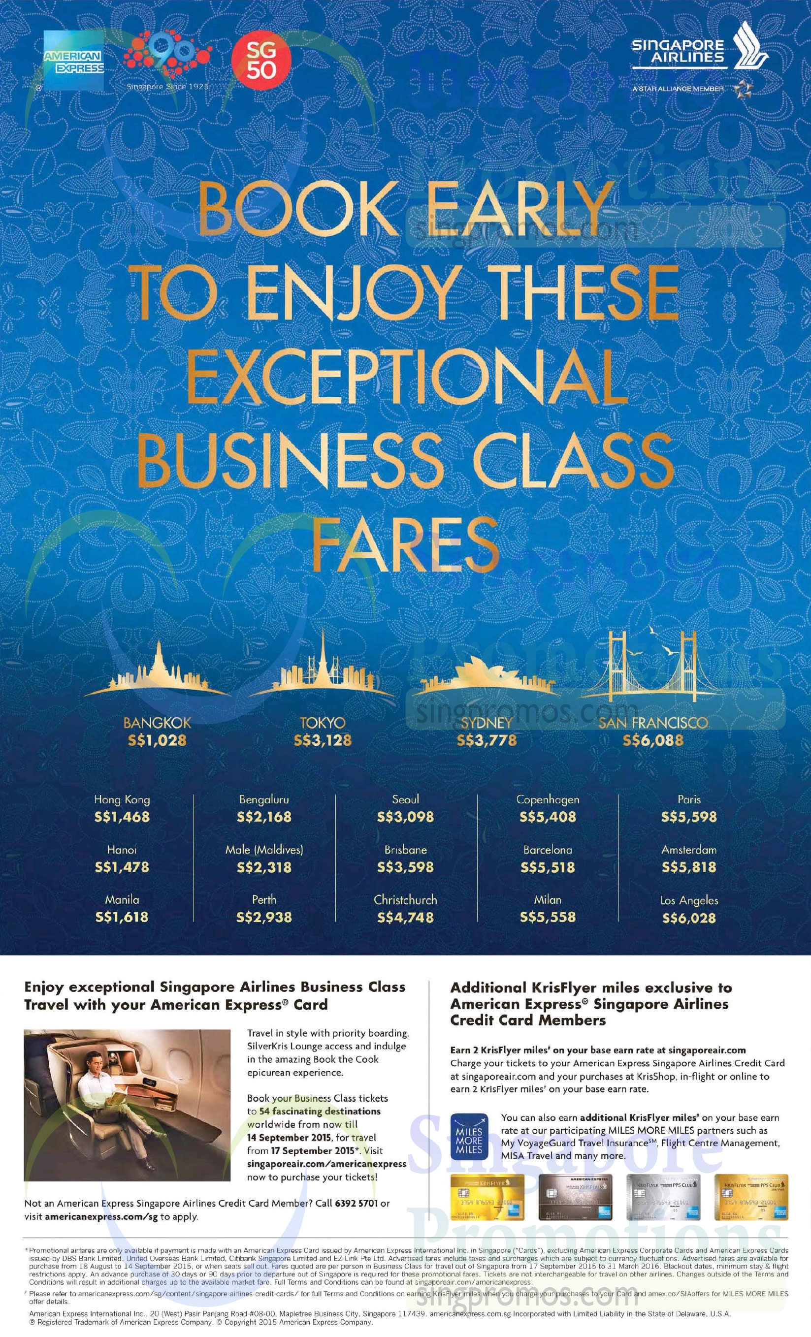 singapore airlines business class promo fares for amex cardmembers