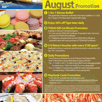Todai 1 for 1 Dinner Buffet For Maybank Cardmembers (Mon-Thurs) 17 - 27 Aug 2015