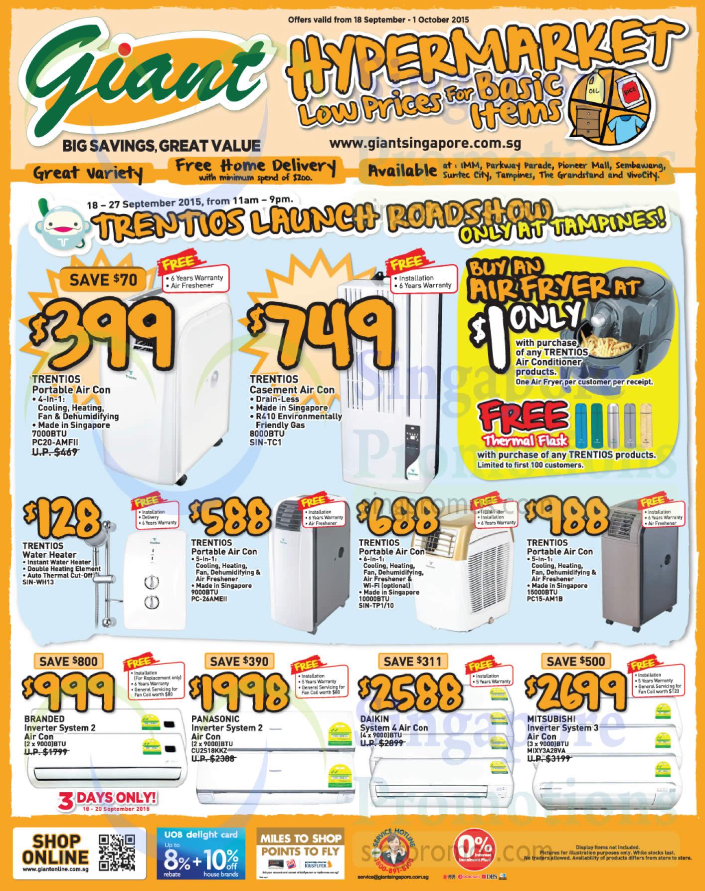 Trentios PC20-AMFII Air Conditioner, Trentios SIN-TC1 Air Conditioner, Trentios SIN-WH13 Water Heater, Trentios PC-26AMEII Air Conditioner, Trentios SIN-TP1/10 Air Conditioner, Trentios PC15-AM1B Air Conditioner, Panasonic CU2S18KKZ Inverter System 2 Air Conditioner, Mitsubishi MIXY3A28VA Inverter System 3 Air Conditioner