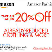 Amazon.com 20% OFF Clothing (NO Min Spend) Coupon Code 5 - 8 Sep 2015