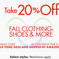 Read more about Amazon.com 20% OFF Fall Clothing, Shoes & More (NO Min Spend) Coupon Code 22 Sep - 1 Oct 2015