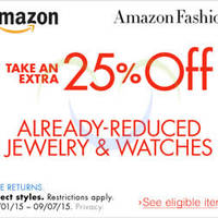 Amazon.com 25% OFF Jewellery & Watches (NO Min Spend) Coupon Code 5 - 8 Sep 2015