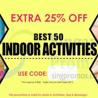 Read more about Deal.com.sg Ensogo 25% OFF $40 Min Spend Activities, Spa & Massages Deals Coupon Code 26 Sep 2015