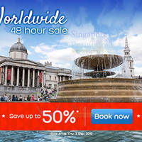 Hotels.com Up To 50% Off 48hr Worldwide Sale 2 - 3 Sep 2015