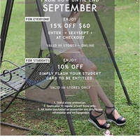 MDS Collections Spend $60 & Get 15% Off Storewide 2 - 30 Sep 2015