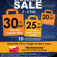 MPH Bookstores Up To 30% OFF Promo 3 - 6 Sep 2015
