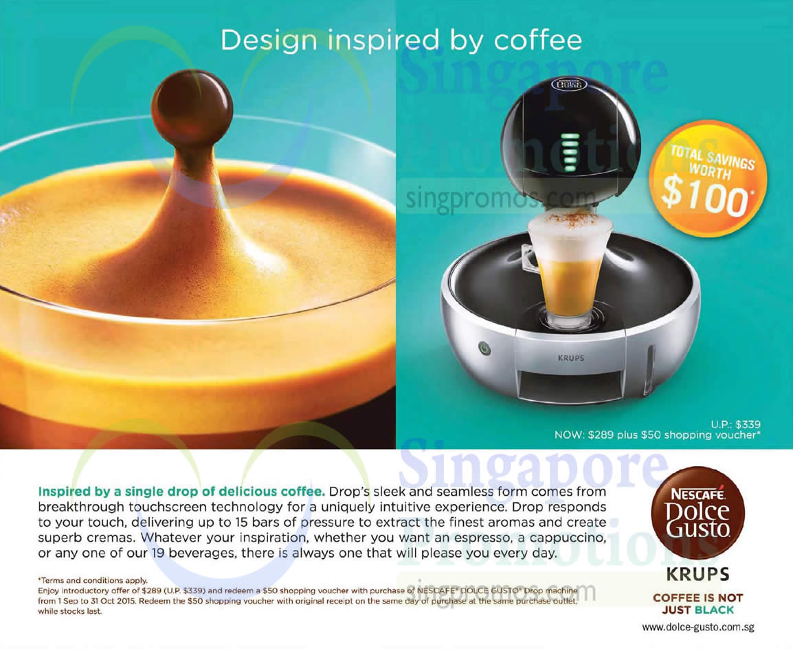 nescafe dolce gusto drop coffee machine promo 7 sep 31. Black Bedroom Furniture Sets. Home Design Ideas