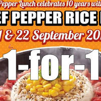 Read more about Pepper Lunch 1-For-1 Beef Pepper Rice Coupon Promo 21 - 22 Sep 2015
