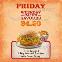Popeyes $4.50 1 Fish Burger & 1 Reg Mashed Potatoes with Cajun Gravy (Fridays) 4 Sep 2015