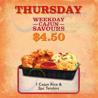 Popeyes $4.50 1 Cajun Rice & 2pc Tenders (Thursdays) From 3 Sep 2015