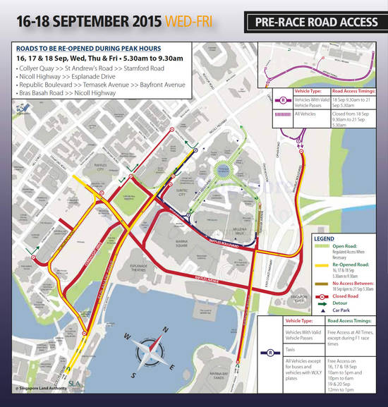 Pre-Race Road Access Road Closures 16 - 18 Sep