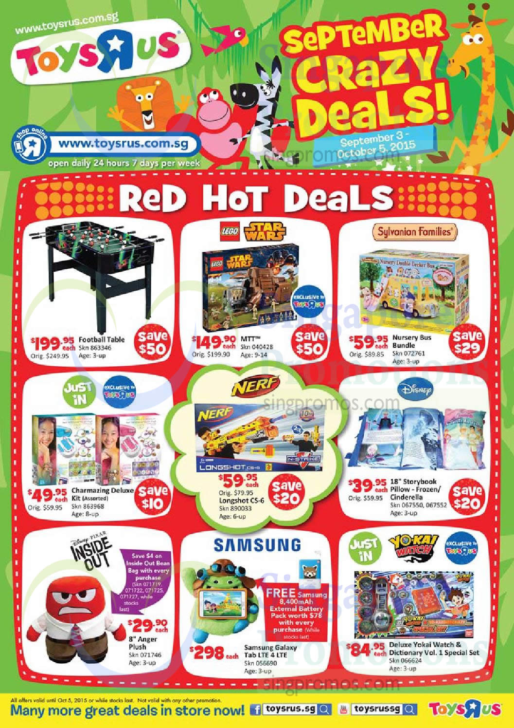 Lego 040428 Star Wars, Sylvanian Families 072761 Nursery Bus Bundle, Nerf Longshot C5-6, Samsung Galaxy Tab LTE 4, Deluxe Yokai Watch & Dictionary Vol. 1
