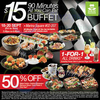 Read more about Sakae Sushi $15 All-You-Can-Eat Buffet (3pm to 6pm) @ Marina Square 19 - 20 Sep 2015