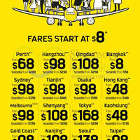Scoot fr $8 Promo Fares 3 - 6 Sep 2015