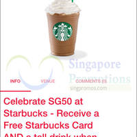 Starbucks Buy Frappuccino & Get FREE Tall Drink & Starbucks Card 3 - 6 Sep 2015