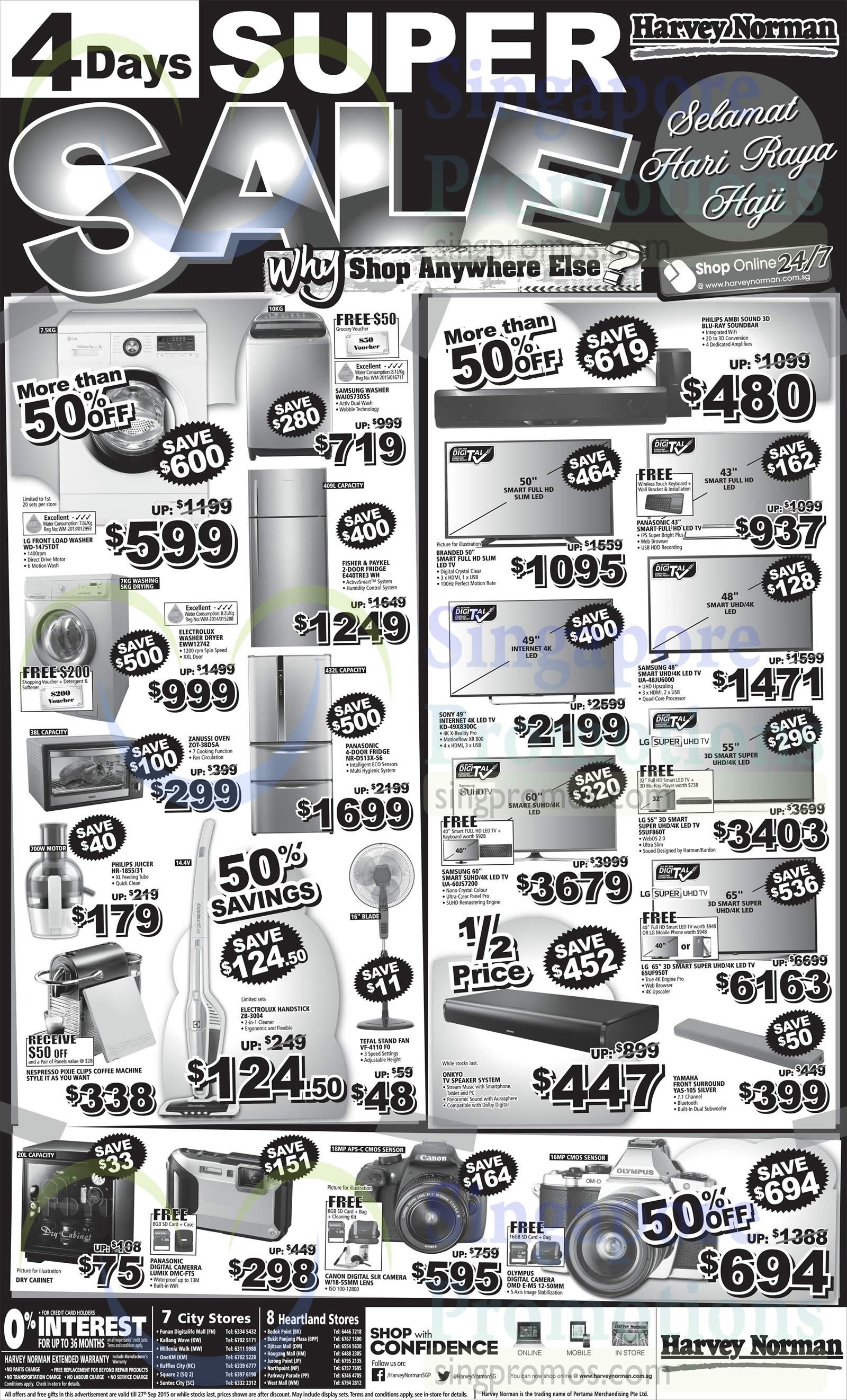 LG WD-1475TDT Washer, Samsung WAI05730SS Washer, Fisher & Paykel E440TRE3 WH Fridge, Panasonic NR-D513X-S6 Fridge, Electrolux EWW12742 Washer, Zanussi ZOT-38DSA Oven, Philips HR-1855/31 Juicer, Nespresso Pixie Clips Coffee Machine, Electrolux ZB-3004 Vacuum Cleaner, Tefa VF-4110 F0 Fan, Sony KD-49X8300C TV, Samsung UA60JS7200 TV, Samsung UA-48JU6000 TV, LG 55UF860T TV, LG 65UF950T TV, Yamaha YAS-105 Speaker, Panasonic Lumix DMC-FT5 Digital Camera and Olympus OMD E-M5 Digital Camera