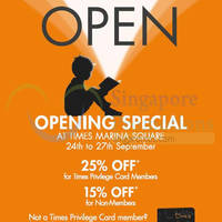 Read more about Times Bookstores Opening Special @ Marina Square 24 - 27 Sep 2015